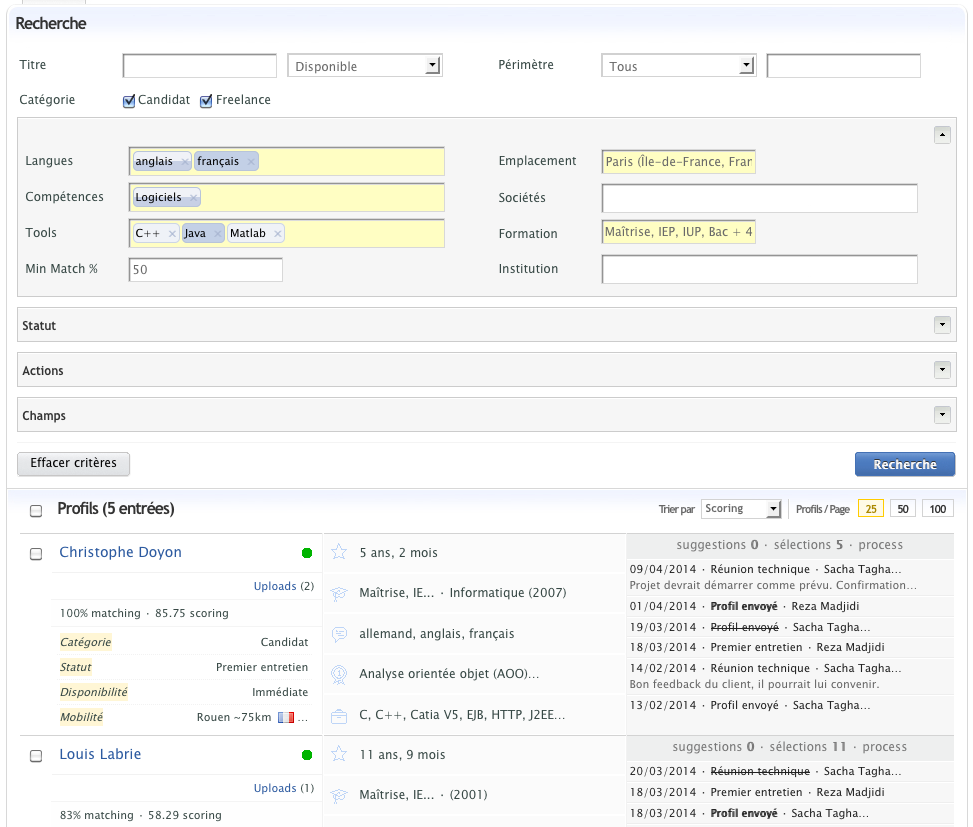 Image exemple: création d'un vivier de compétences avec Unatrix